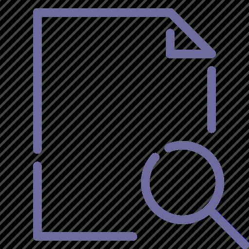 document, file, paper, search icon