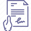 document, file, hand, signature icon