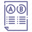 comparison, document, rules, test icon