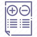 comparison, document, regulations, rules icon
