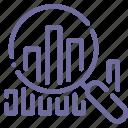 analytics, data, search, statistics icon