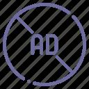 ad, advertisement, advertising, block icon