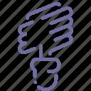 energy, lamp, saving, spiral icon