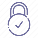 check, lock, padlock, protection icon