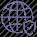 globe, internet, check, shield