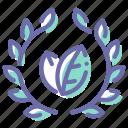 leaves, wreath, badge, eco