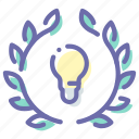 badge, bulb, award, idea