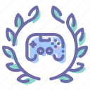 game, joystick, badge, wreath