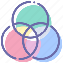 circles, filter, graphic, intersection icon