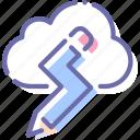 cloud, creative, idea, pencil icon