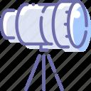 camera, lens, telescope, tripod icon
