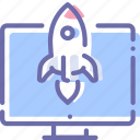 business, display, rocket, start icon