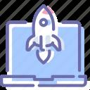 app, laptop, launch, rocket icon