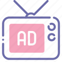advertisement, advertising, banner, television icon