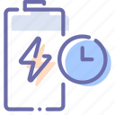 battery, charge, power, time icon
