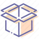 box, cube, open, product icon