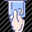 atm, cash, dispenser, hand icon