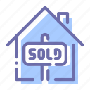 bankrupt, credit, house, sold icon