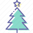 christmas, decoration, star, tree icon