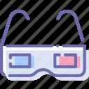 cinema, glasses, stereo, theater icon