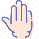five, fingers, hand, stop icon