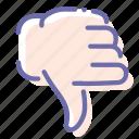 dislike, down, hand, thumb icon