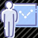analytics, chart, presentation, speech icon