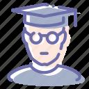 avatar, bachelor, man, student icon