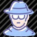 avatar, glasses, man, spy icon