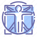davinci, man, vinci, vitruvian icon