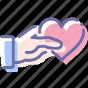 gift, hand, love, valentine icon