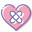 heart, love, pain, patch icon