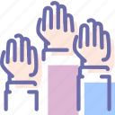 elections, hands, palm, vote icon