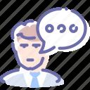 bubble, chat, man, message icon