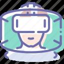 helmet, man, reality, virtual icon