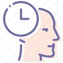 head, man, planning, time icon