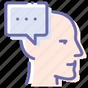 head, idea, man, message icon