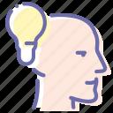 bulb, head, idea, man icon
