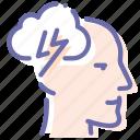 brain, head, man, storm icon