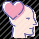 emotion, head, love, man icon