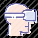 head, helmet, reality, virtual icon