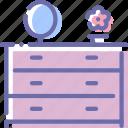 cupboard, makeup, mirror, table