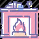 chimney, cozy, fireplace, interior icon