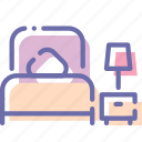 bed, bedroom, hotel, room icon