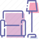 chair, interior, lamp, rest icon