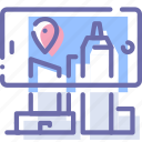 augmented, city, phone, reality icon