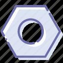 female, internal, nut, screw icon