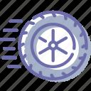 auto, movement, physics, wheel icon