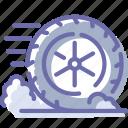 wheel, friction, movement, brake icon