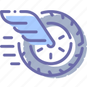 delivery, fast, wheel, wing icon